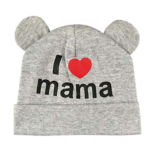 BCDshop Cute Infant Baby Girls Boys Heart Letter Sleep Cap Headwear Hat 2-10 Months (Gray)