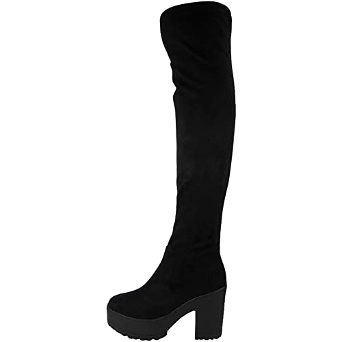 c3c1b877551 ByPublicDemand B1H New Womens Over The Knee Thigh High Chunky Platform  Block Heel Boots Black Faux