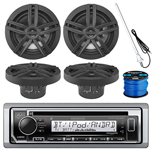 Kenwood Marine Boat Outdoor Bluetooth CD MP3 USB/AUX iPod iPhone Stereo Receiver 4x 6.5 Inch Dual Cone Enrock Marine Waterproof Speakers 50 ft Marine Speaker Wire, Antenna (Black/Chrome)