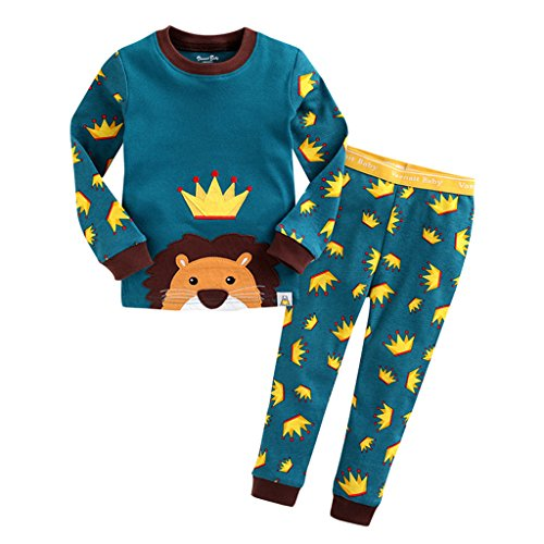 YISUMEI Children's Pajamas Thermal Underwear Crown Green 5T