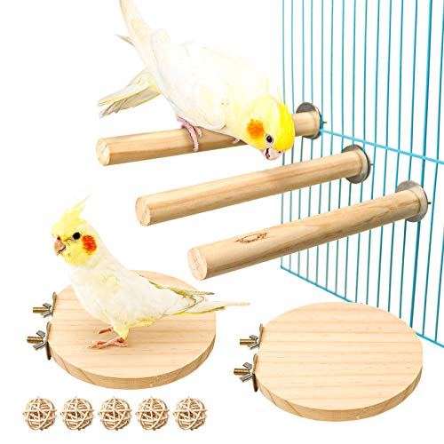 S-Mechanic 5 Packs Parrot Cage Perch,Natural Wooden Perch Toys Parrot Stand Suitable for Small or Medium Conure,Parakeet,Budgie,Finches,Amazon Parrot (Style-2)