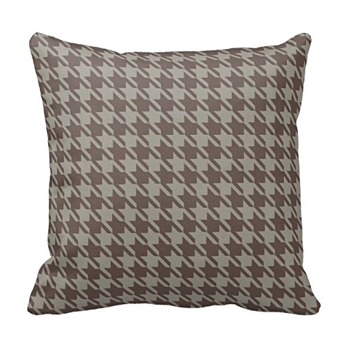 Grey and Brown Houndstooth Check Gingham Grid Pattern Pillow