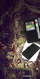 JackGot ( Ilustración Steampunk ) Sony Xperia Z3 D6603 la tarjeta de Crédito Slots PU Funda de cuero Monedero caso cubierta de piel