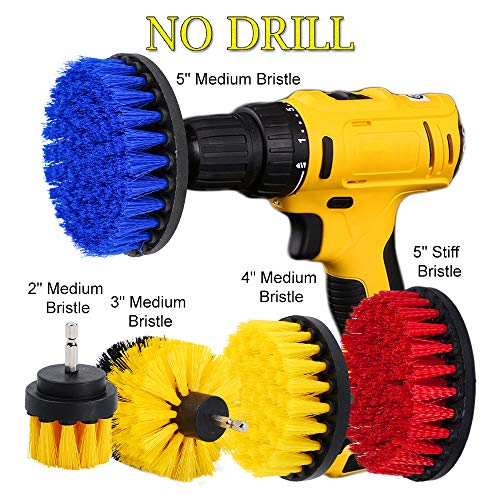 HIFROM 5pcs Drill Brush - Scrub Attachments Cleaning Stiff Medium Bristle Drill Brush Kit for Bathrooms Tile Glass Carpets Upholstery (Glass Fireplace Enclosure Door)