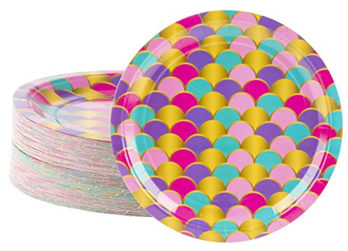 Disposable Plates - 80-Count Paper Plates, Mermaid Party Supplies for Appetizer, Lunch, Dinner, and Dessert, Scallop Design, 9 Inches Diameter
