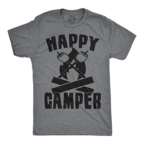 d7cc8294 Mens Happy Camper Shirt Funny Camping Shirts Cool Vintage Tees Retro Design