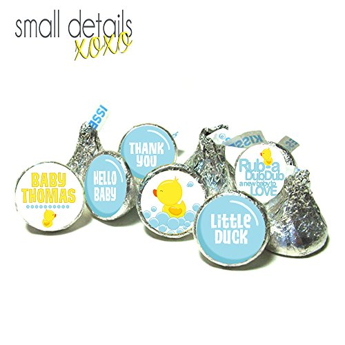 RUBBER DUCK Themed Baby Shower kiss stickers ~ fits Hershey's Kisses Chocolate - Stickers Only - (108 peel & stick stickers) Lifesaver Baby Shower Favors