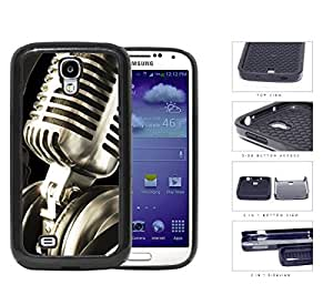 Classic Vintage Microphone And Headphones 2-Piece Dual Layer High Impact Rubber Silicone Cell Phone Case Samsung Galaxy S4 SIV I9500