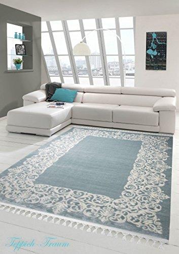 Designer Teppich Moderner Teppich Wollteppich Bordüre Design mit Fransen Wohnzimmer Teppich Türkis Creme Größe 160x230 cm