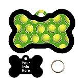 ball customized - Customized TENNIS BALLS LIME GREEN Pet Tag - Bone Shape Dog Tag
