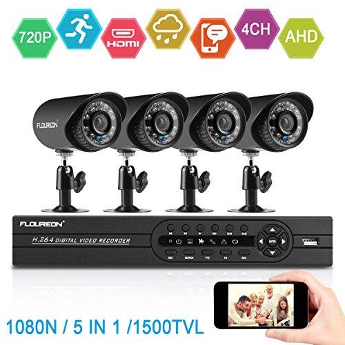 FLOUREON 4CH DVR Home Security System 1080N AHD DVR + 4 X Outdoor 1500TVL 720P Bullet Security Surveillance Cameras Night Version (4CH+1500TVL)