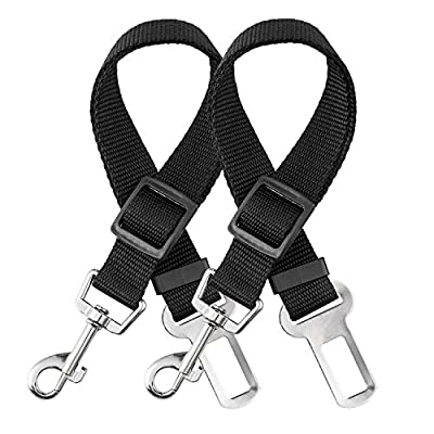 Dog Seat Belt, CYTIK Vehicle Harnesses Car Safety Seatbelt Tether Leash for Dogs Puppy Cats Pets, Adjustable from 17 to 27 inch, Nylon Fabric Metrial Black [2 Pack]