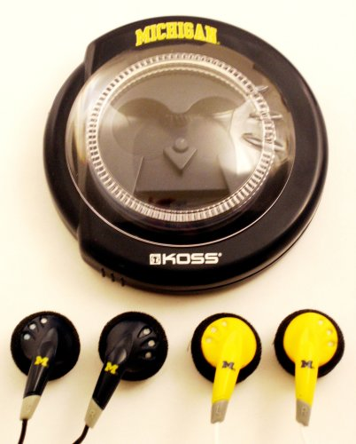Koss Sportbuds Stereo Earphones 2-Pack with Wind Up Storage Case - University of Michigan Logo