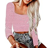 Lmx+3f Women Sexy Crop Slim Stripe Print Lady Fashion Long Sleeve Blouse Tops Solid Color Soft Comfy Shirt Pink