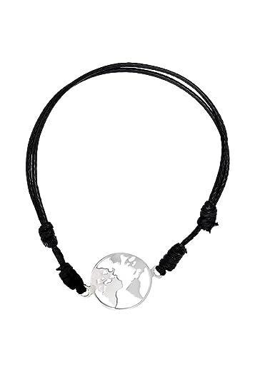 Córdoba Jewels | Pulsera en Plata de Ley 925 con diseño Mapamundi Cuero: Amazon.es: Joyería