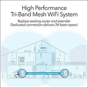 NETGEAR Orbi Tri-band Whole Home Mesh WiFi System with 3Gbps Speed (RBK50) – Router & Extender replacement covers up to…