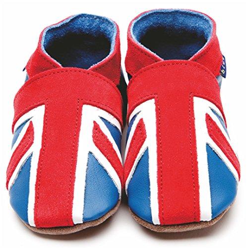Inch Blue Mädchen/Jungen Schuhe für den Kinderwagen aus luxuriösem Leder - Weiche Sohle - Union Jack Blau & Korallenrot