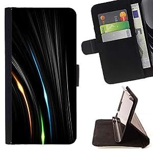 For Apple iPhone 5C Case , Líneas vibrantes Misteriosa Verde Espacio- la tarjeta de Crédito Slots PU Funda de cuero Monedero caso cubierta de piel