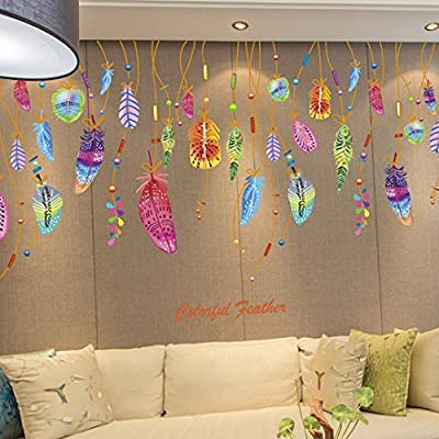 Iuhan® Fashion Feather Wall Sticker Classic Dream Catcher Sofa Art Decal Mural Lucky Room Decor