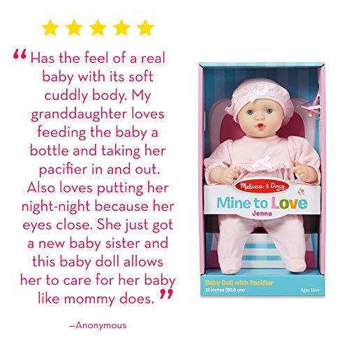 """Melissa & Doug Mine to Love Jenna 12-Inch Soft Body Baby Doll, Romper and Hat Included, Wipe-Clean Arms & Legs, 12.5"""" H x 7.2"""" W x 4.7"""" L"""