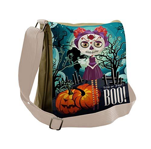 Lunarable Halloween Messenger Bag, Girl Sugar Skull Makeup, Unisex Cross-body]()