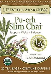 Lifestyle Awareness Teas, Pu-Erh Slim Chai, 20 Count (Pack of 6)