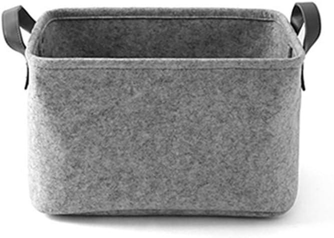 S, Dark Gray Laundry Hamper Toy Storage Box with Handle Strap Soft Durable Storage Nursery Bins Home Decorations XGZ Felt Basket