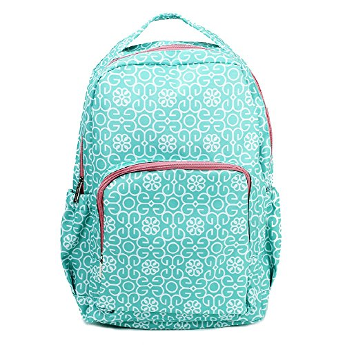 Mint Green Damask Medallion 10 x 18 Inch Reinforced and Water Resistant Backpack (Fabric Handbags Medallion)