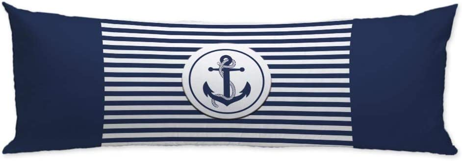 GUGLILI Nautical Boat Anchor Navy and White Striped Body Pillow Case Cover Machine Washable with Zipper Twin Sides Print Soft Cotton Polyester Pillowcase 20X54 Inch