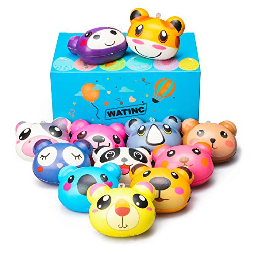 WATINC 12Pcs Cute Animal Squishies, Slow Rising Cream Scented Squishies Pack for Kawaii Kid Toys, Party Favors Decoration, Super Soft Stress Relief Toys, Perfect for Birthday Gifts and Phone Straps