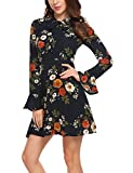 ACEVOG Women's Casual Floral Print Bell Sleeve Fit and Flare Dress,XX-Large,Floral 1