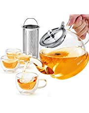 Glass Teapot Set, 40 oz./ 1200 ml Tea Set with 4 Double-Wall Glass Teacups, TeaPot with Removable Stainless Steel Strainer for Loose, Flower Tea, Scale line Borosilicate Glass Teapot for Stovetop