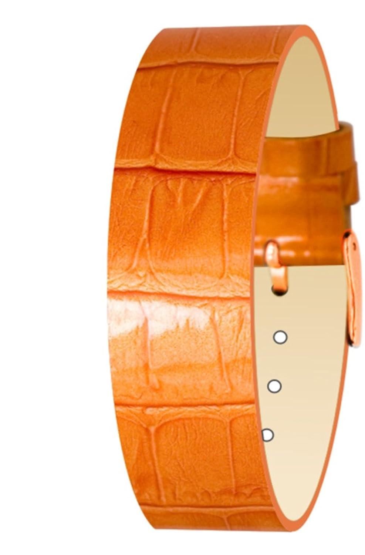 Moogパリオレンジカーフレザーブレスレットの女性、Varnishedワニパターン、ピン留め金、18 mmバンド – cc-12rg  B01HQ8XQ68