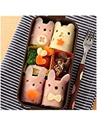 Witkey 5 Pcs ! Bento Accessories Bears Seals Bunny Chick Bear Shape DIY Rice Ball Mould Korean Laver Take Boarder Sushi Mold Sandwich Mold Mould Cutter Stamp