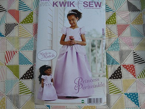Kwik Sew 3903 Girls & 18`` doll Princess Periwinkle dress Pattern size 4 thru 14 supply:idogiveahoot by manrojoytion