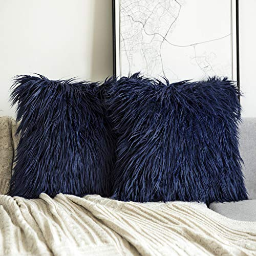 (Phantoscope Set of 2 Navy Blue Decorative New Luxury Series Merino Style Fur Throw Pillow Case Cushion Cover 18