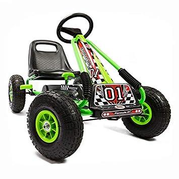Kiddo by Raygar Racer - Kart de Pedales para niños (Asiento Ajustable, Ruedas de Goma para niños de 4 a 8 años), Color Verde: Amazon.es: Juguetes y juegos