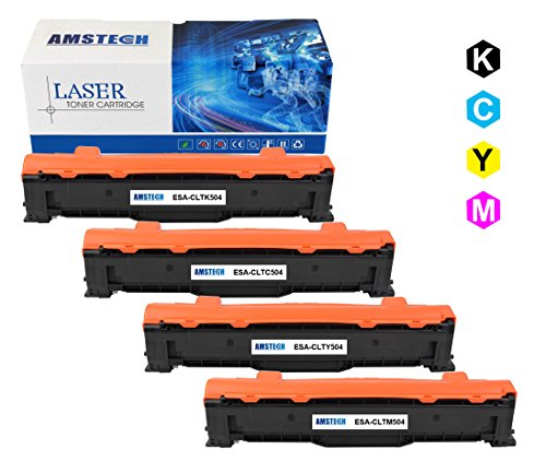 4Pack Amstech Black Cyan Yellow Magenta Toner Cartridge Replacement For CLT-K504S CLT-C504S CLT-Y504S CLT-M504S For Samsung CLX-4195FW 4195FN Xpress SL-C1860FW CLX-4195N CLX-4195 CLP-415NW CLP-415N