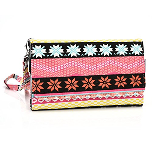 Kroo Paisley Designed Wristlet Clutch Wallet for 6-Inch Phones - Non-Retail Packaging - Pink and red