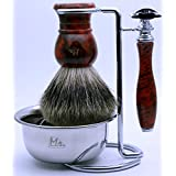 Mr®Clean Shave Complete Wet Set Shaving 4 pieces Set with Safety Razor,Bowl,Stand,Hand Crafted 100% Pure Badger Shaving brush.Great Birthday Gift Idea for Your man, father,husband,boyfriend,brother,boss,Red Color