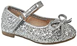 Baby Girls Karra Silver Bowknot Bling Glitter Mary Jane Infant Toddler Dress Flat Shoes-8