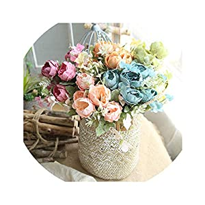 1 Bouquet Artificial Peony Flower Silk Flowers Branch Fake Mini Peony Flower for Home Wedding Decoration 6