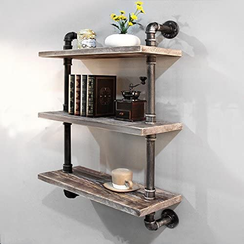 Industrial Pipe Bookcase Wall Shelf,Rustic Floating Wood Shelves Shelving 24