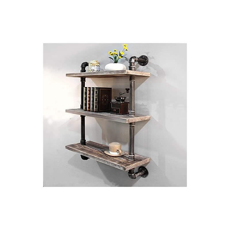 Industrial Pipe Bookcase Wall Shelf,Rust