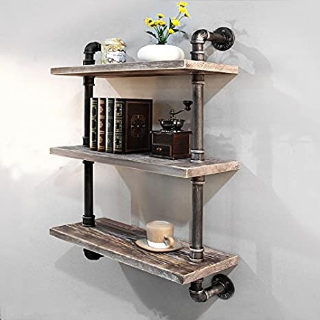 Industrial Pipe Bookcase Wall Shelf Rustic Floating Wood Shelves Shelving 24