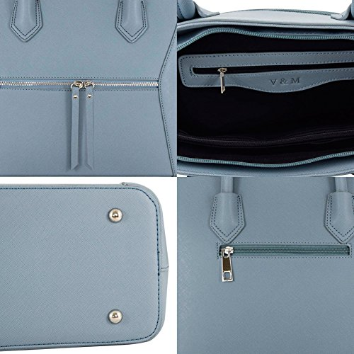 Handbag Shopping Shopper Blue Vanessa A4 amp; Bag Work PU Melissa Study Leather Women Aat0Sq