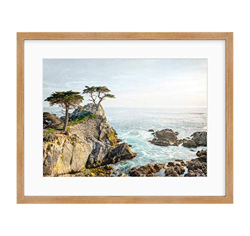 Framed Photographic Print, California Coastal Wall Art, Lone Cypress Tree Picture, Lone Cypress' (Pebble Beach Matte)