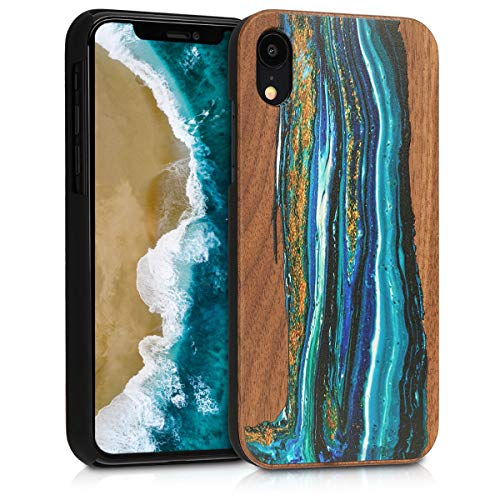 kwmobile Apple iPhone XR Wood Case - Non-Slip Natural Solid Hard Wooden Protective Cover for Apple iPhone XR (Wooden Wave)