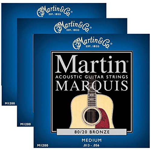 3 Sets of Martin Marquis 80/20 Bronze Wound Medium Acoustic Guitar Strings (13-56)