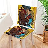 Mikihome Chair Cushion (Set of 2) Steampunk Robots Western Style Cowboy Kisses The Girl Illustration Yellow and Brown Includes Seat and Backrest Mat:W17 x H17/Backrest:W17 x H36